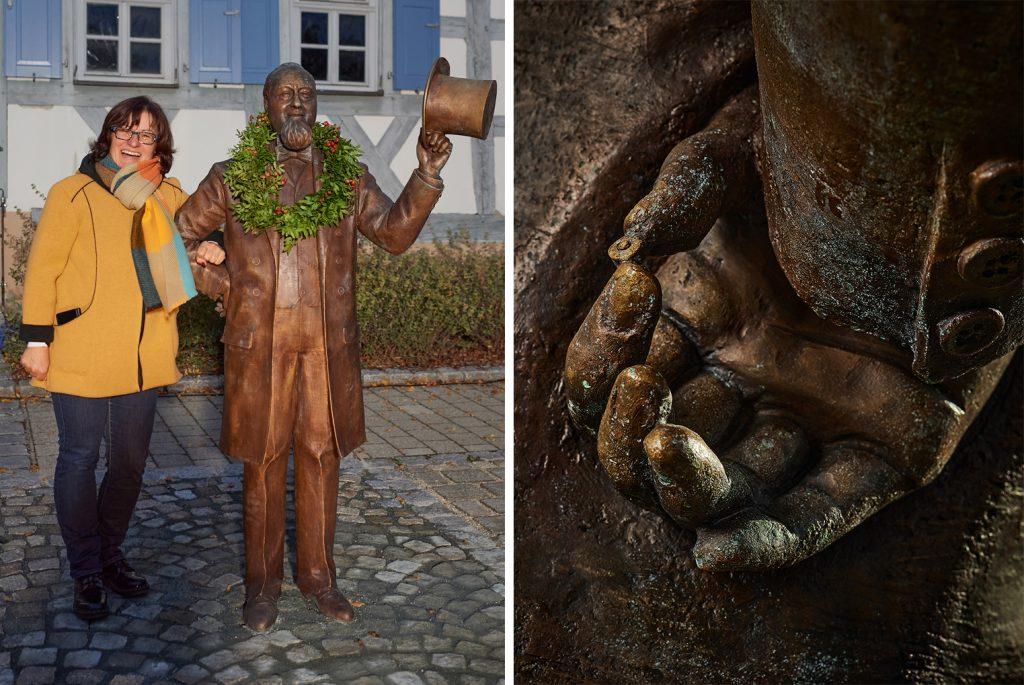 Levi Strauss Museum: Links: Tanja Roppelt und die Levi Strauss-Figur, rechts: hinter ihrem Rücken hält die Figur eine Niete in der Hand